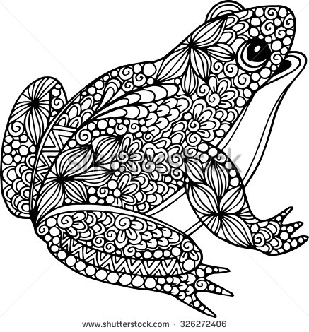 Drawn ornamental leaf Frog ornamental Hand doodle drawn