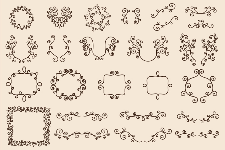 Drawn ornamental black and white Decorative Set Hand Ornamental Freebie: