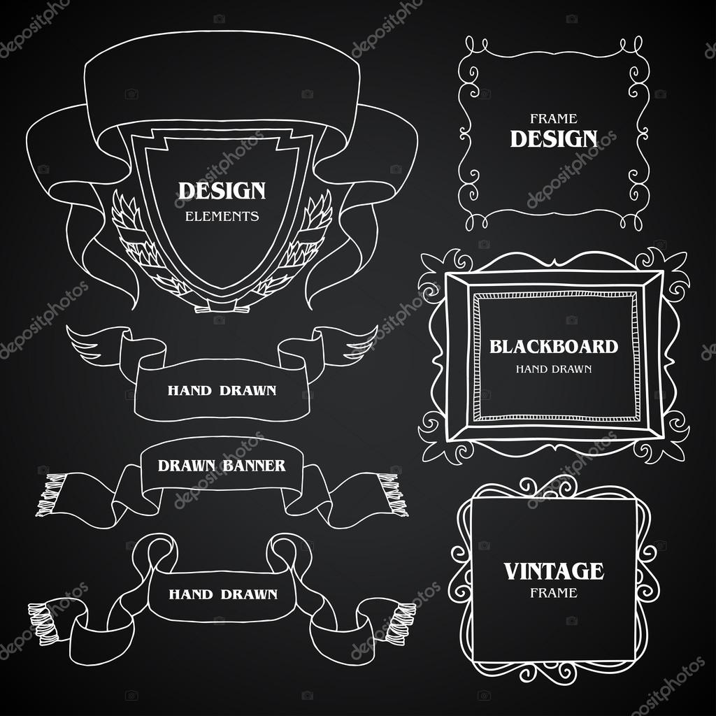 Drawn ornamental chalkboard Set style frames photo set