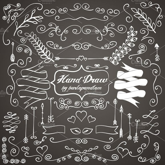 Drawn ornamental chalkboard Illustrations draw hand on ornaments