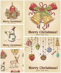 Drawn ornamental christmas card Vintage Christmas hand hand with