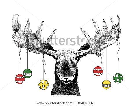 Drawn ornamental christmas card Funny moose humor big Christmas