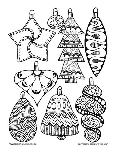 Drawn ornamental christmas coloring Coloring for Coloring Christmas and