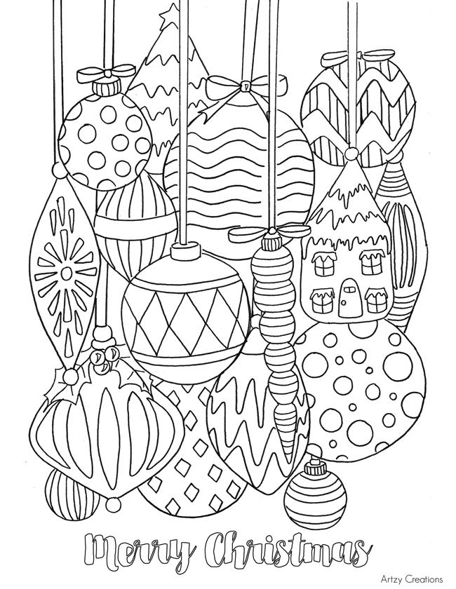 Drawn ornamental christmas coloring #3