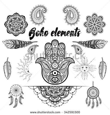 Drawn ornamental doodle Hand elements bohemian ornamental in