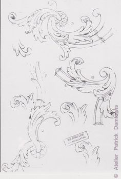 Drawn ornamental leaf Sketch baroque ORNAMENTAL simple LEAF