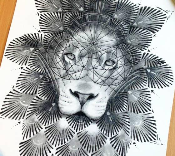 Drawn ornamental lion  Dino Lion No 683