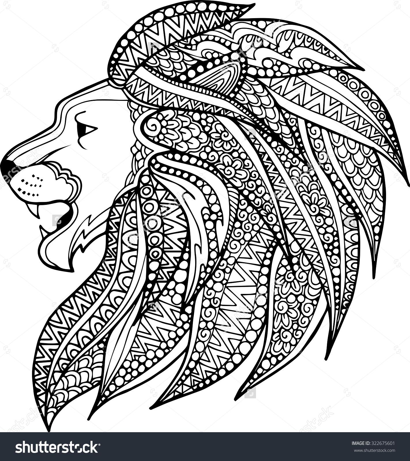 Drawn ornamental lion Zentangle Hand Drawn : Hand