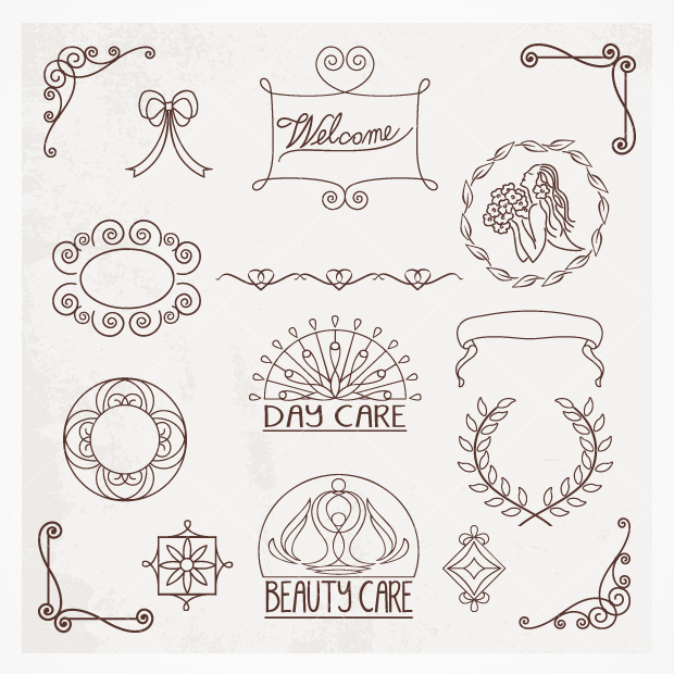 Drawn ornamental vector Hand Drawn #logo drawn pack