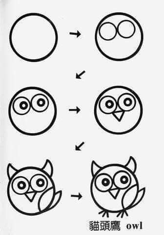 Drawn owl beginner Animals 25+ More draw step