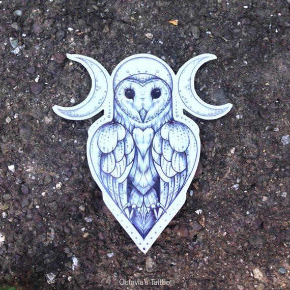 Drawn owl moon Goddess Owl Tattoo Tattoo Bird