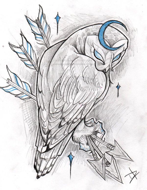Drawn owl moon Owls 1066 a Moon Pinterest