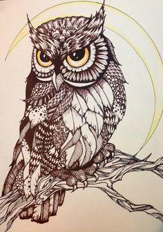 Drawn owl moon Logo Tattoo / on Zen