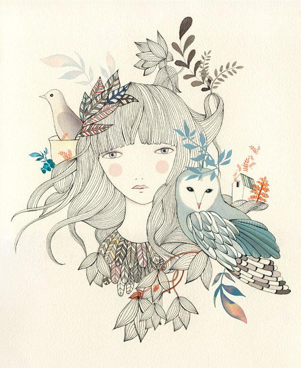 Drawn owl nature #7