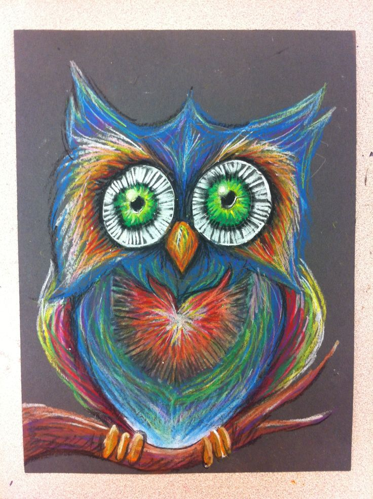 Drawn owl pastel Mr ideas drawings construction paper