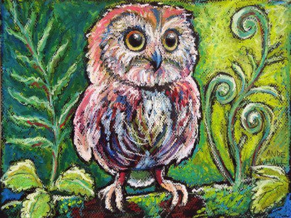 Drawn owl pastel 9x12 Ande Bird best