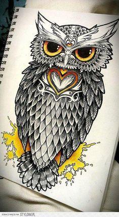 Drawn owl pattern #9