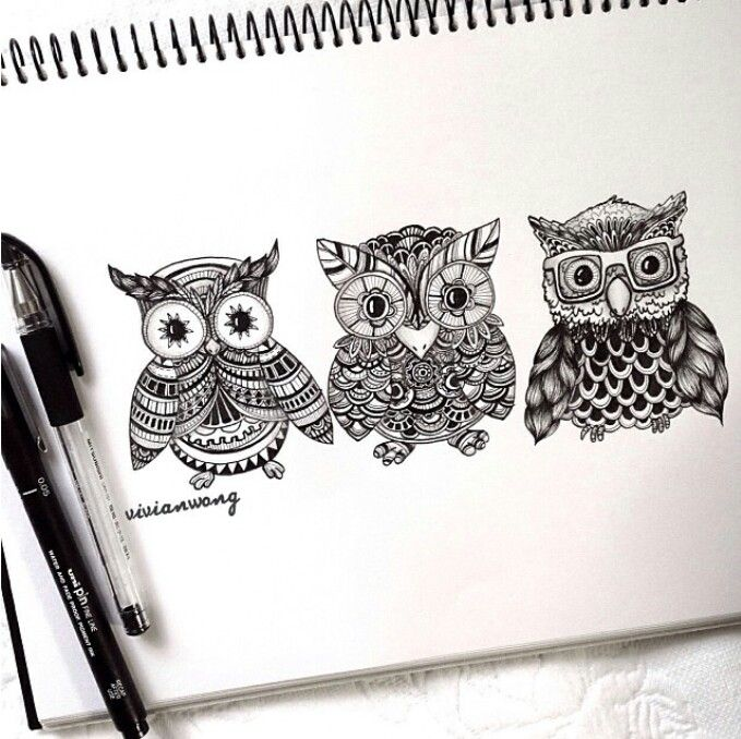 Drawn owl pattern #6