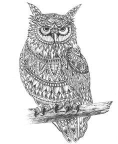 Drawn owl pattern #8