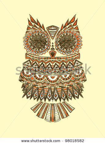 Drawn owl pattern #10