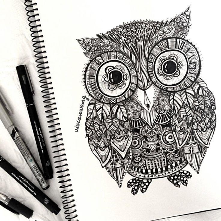Drawn owl pattern #7