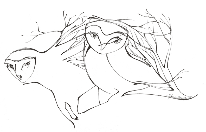 Drawn owl tree drawing Other part and  owl