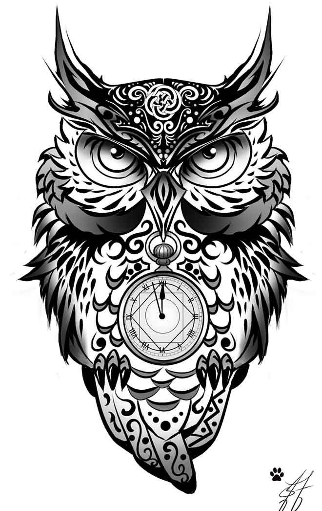 Drawn owl tribal #9