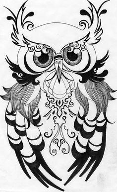 Drawn owl wood Horned of Tattoos Great Pin
