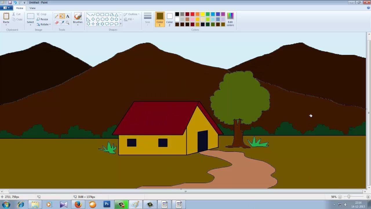 Drawn house ms paint Ms Paint to Mountain YouTube