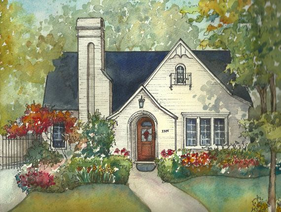 Drawn painting house Details home art with house