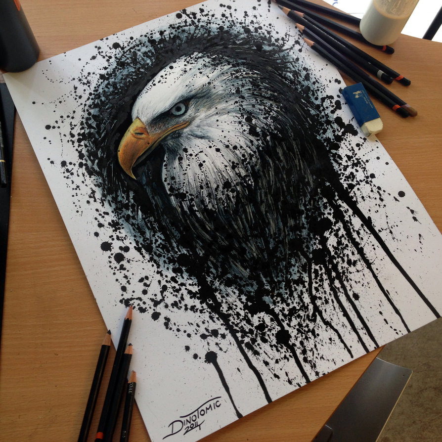 Drawn painting splatter Drawing Eagle by Splatter Drawing