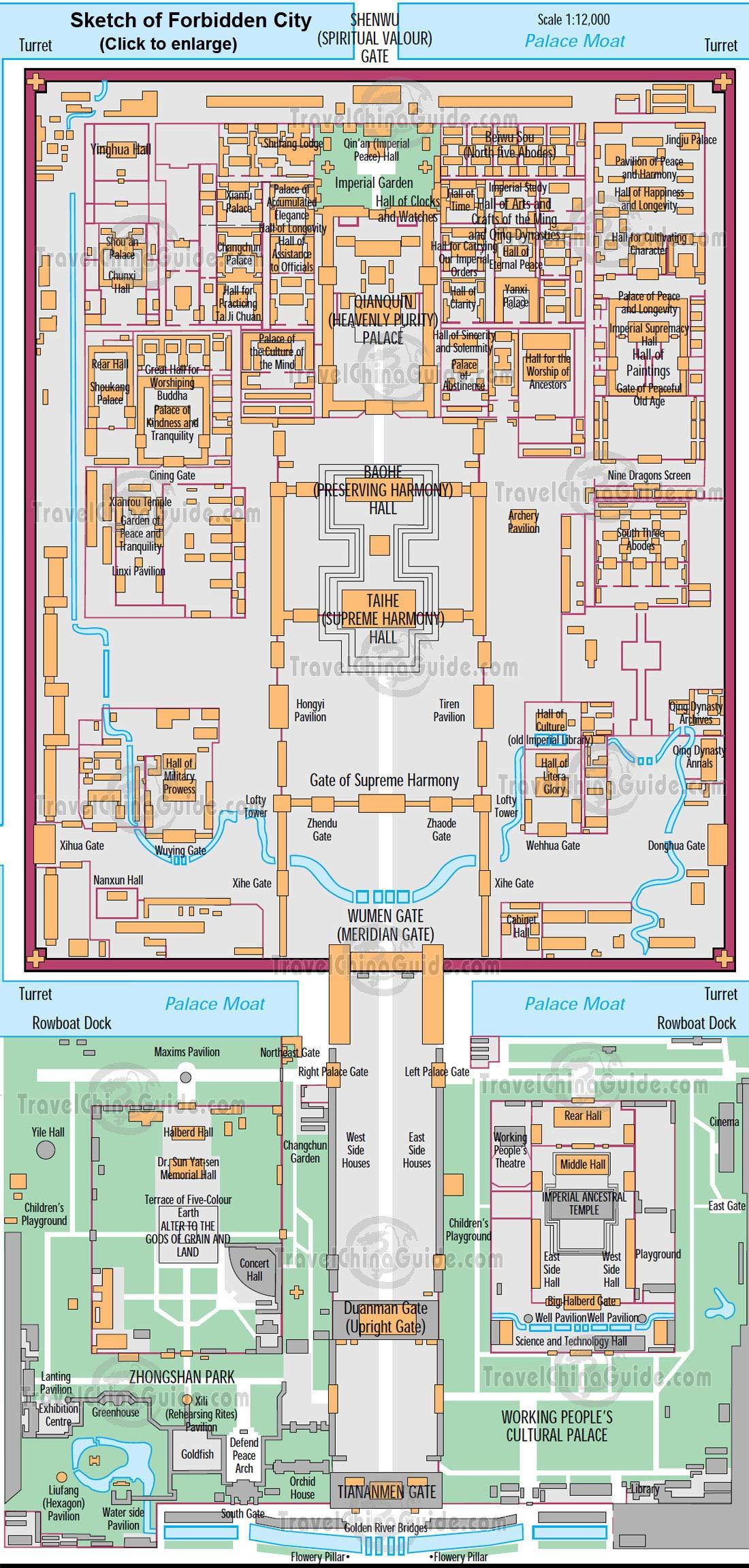 Drawn palace forbidden city Museum Palace Beijing Map City