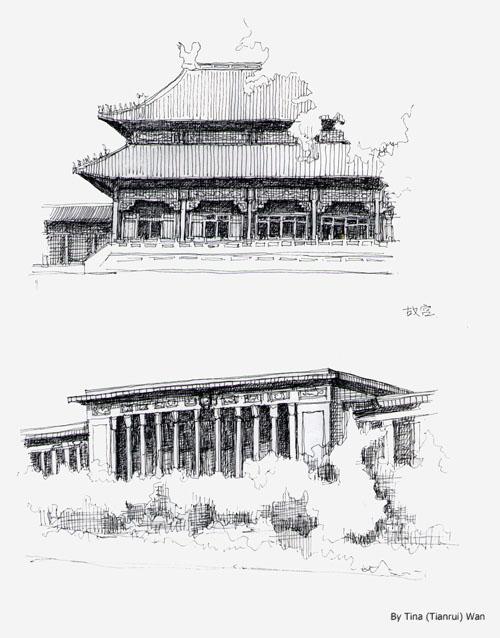 Drawn palace forbidden city Forbidden Sketches Advertisements City Art