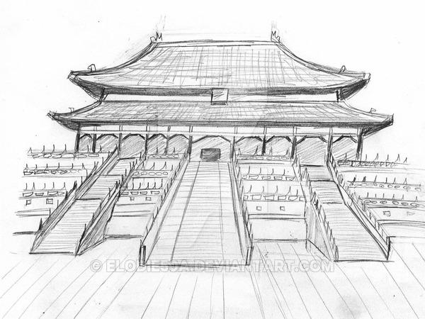 Drawn palace forbidden city Pin pagoda Chinese by