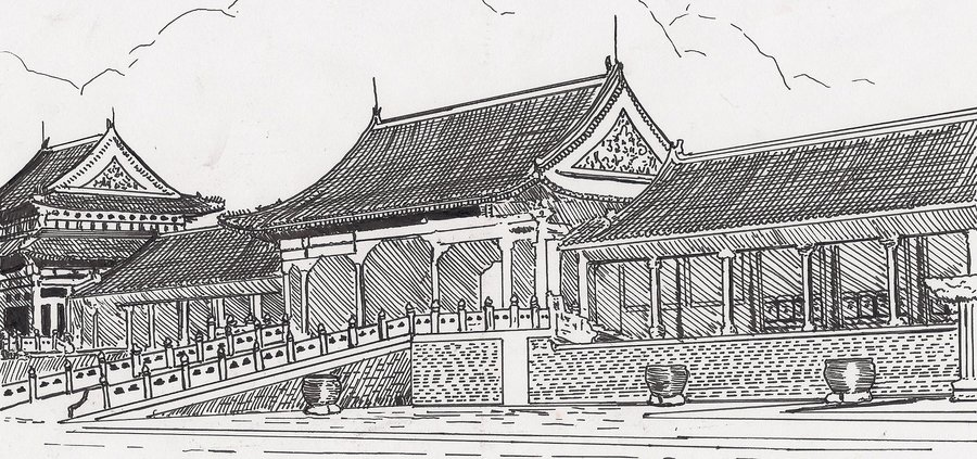 Drawn palace forbidden city China City Forbidden by on