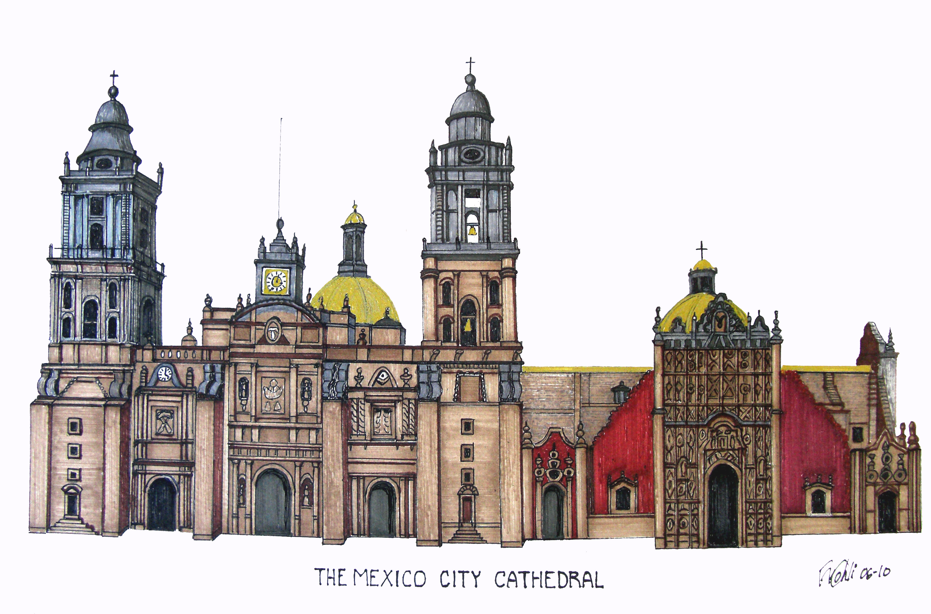 Drawn palace mexico city Kohli cathedral Pen of and