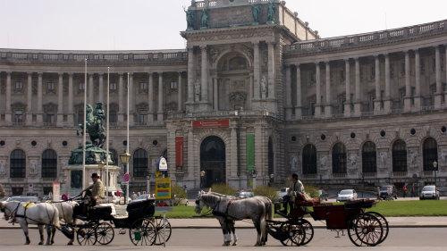 Drawn palace small Hofburg horse drawn carriages Walking