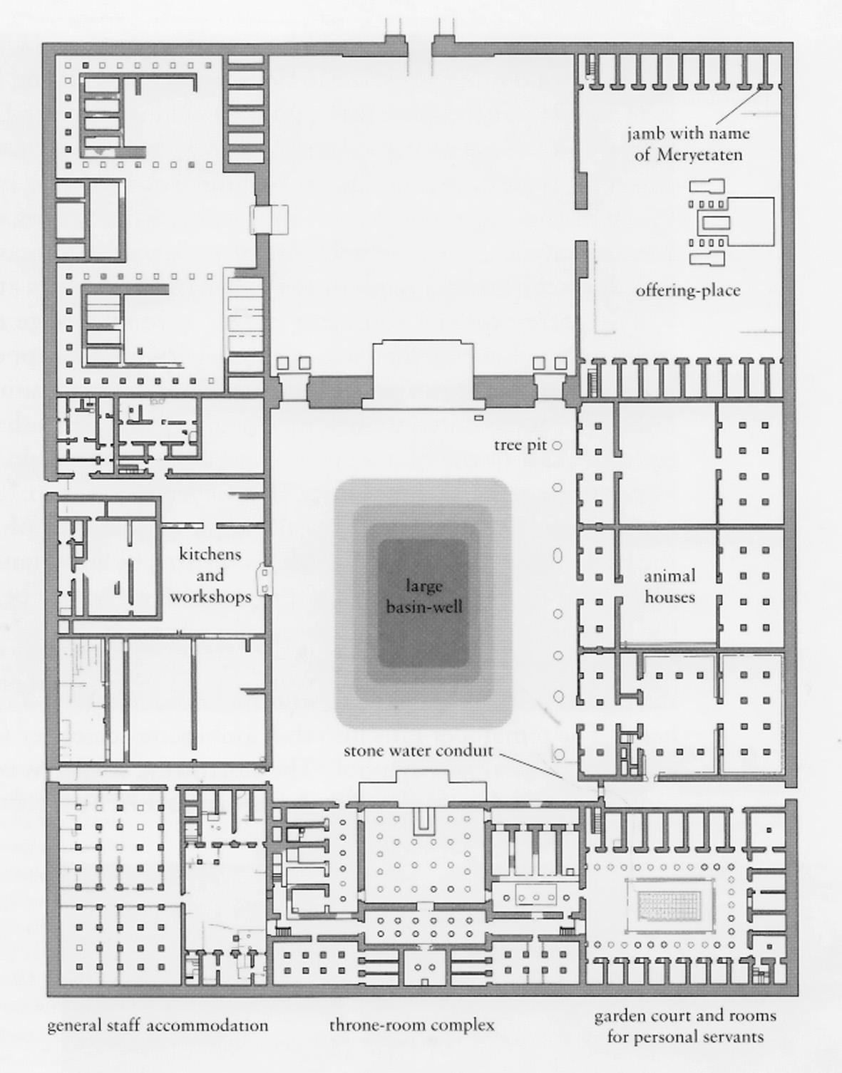Drawn palace small Plan North Palace Amarna and