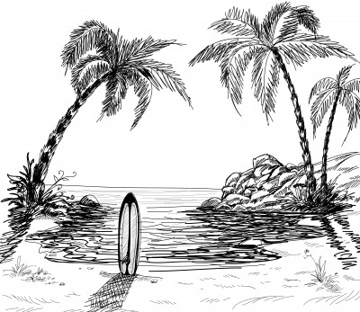 Drawn palm tree #10