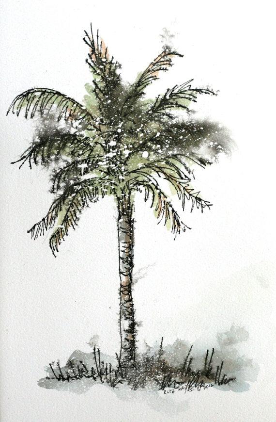 Drawn palm tree abstract #5