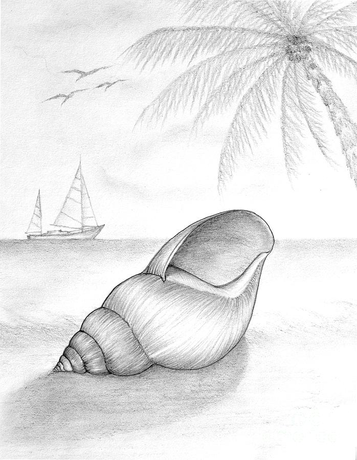 Drawn palm tree beach scene #15