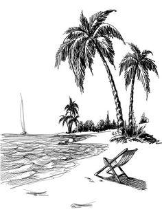Drawn palm tree beach scene #12