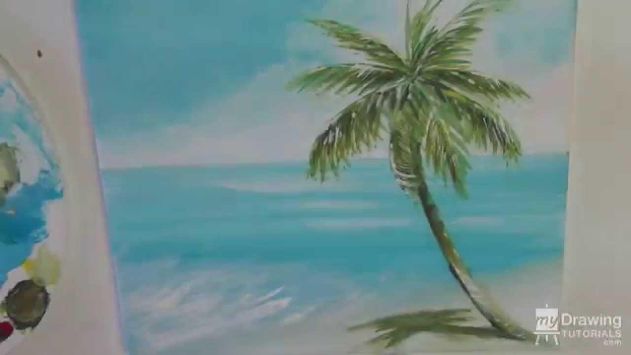 Drawn palm tree beach scene #13