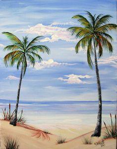 Drawn palm tree beach scene #14