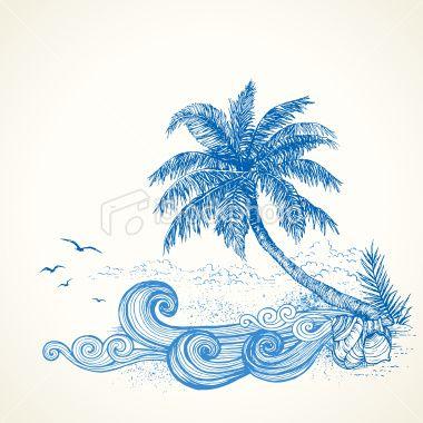 Drawn palm tree beach scene #11