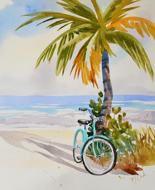 Drawn palm tree beach scene #8