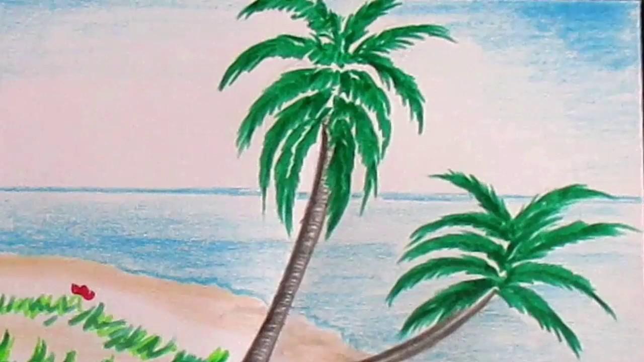Drawn palm tree beach scene #9