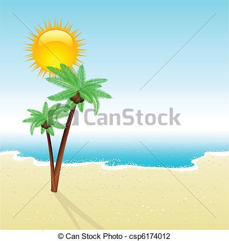 Drawn palm tree beach scene #4