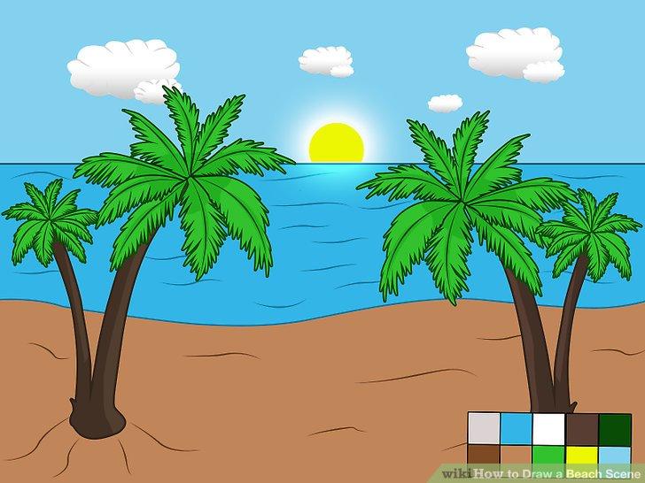 Drawn palm tree beach scene #10