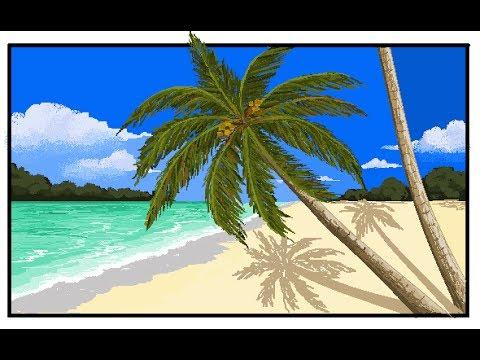 Drawn palm tree beach scene #5